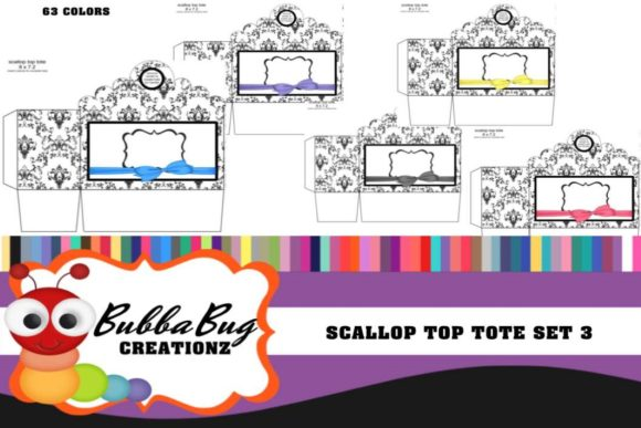 Scallop Top Tote Set 3 Graphic Crafts By BUBBABUG