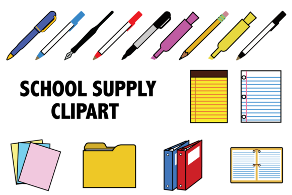 Print on Demand: School Supplies Clipart Graphic Icons By Mine Eyes Design - Image 1