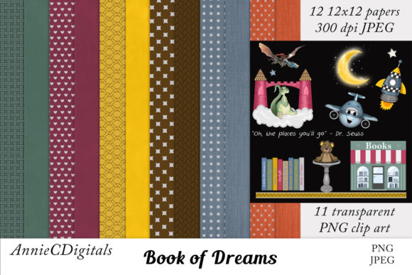 Download Free Scrapbook Paper Reading Adventure Kit Graphic By for Cricut Explore, Silhouette and other cutting machines.