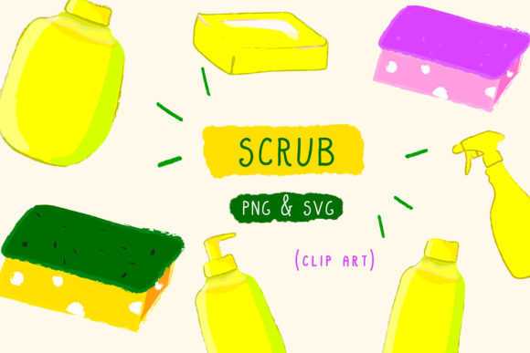 Print on Demand: Scrub Sponge, Cleaning Spray, Soap House Graphic Icons By Inkclouddesign