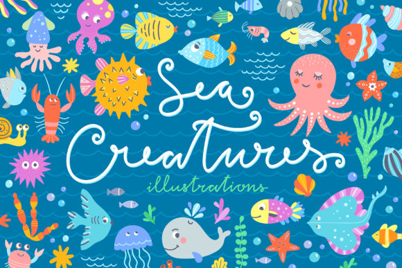 Sea Creatures Collection Graphic Illustrations By redchocolate