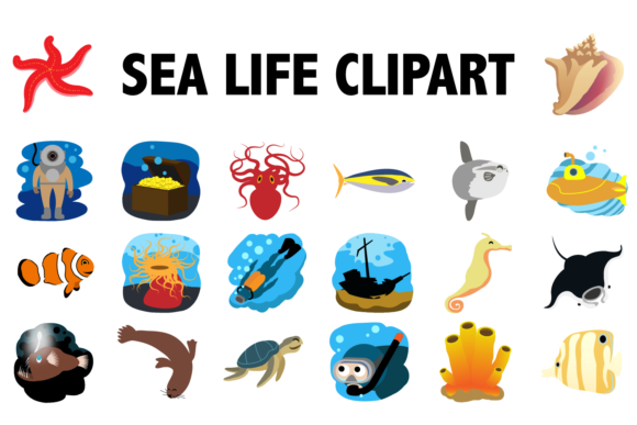 Print on Demand: Sea Life Clipart Graphic Illustrations By Mine Eyes Design - Image 1