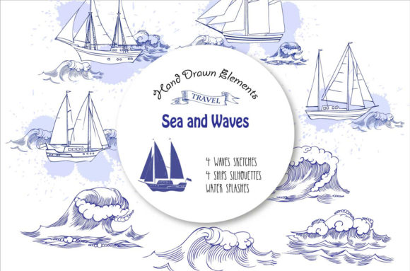 Sea and Waves Digital Clipart Graphic By natalia.piacheva Image 1
