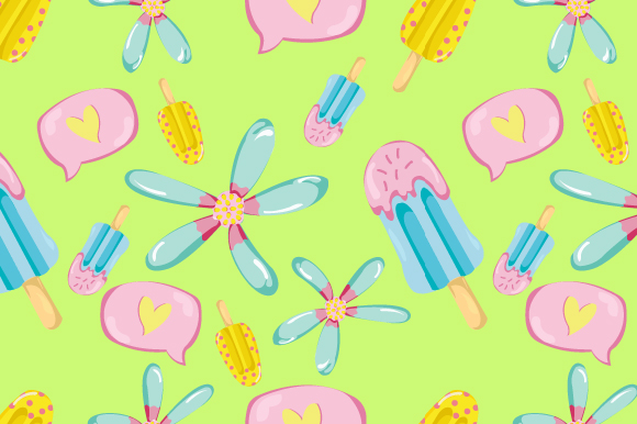 Download Free Seamless Summer Ice Cream Pattern Graphic By Iop Micro for Cricut Explore, Silhouette and other cutting machines.