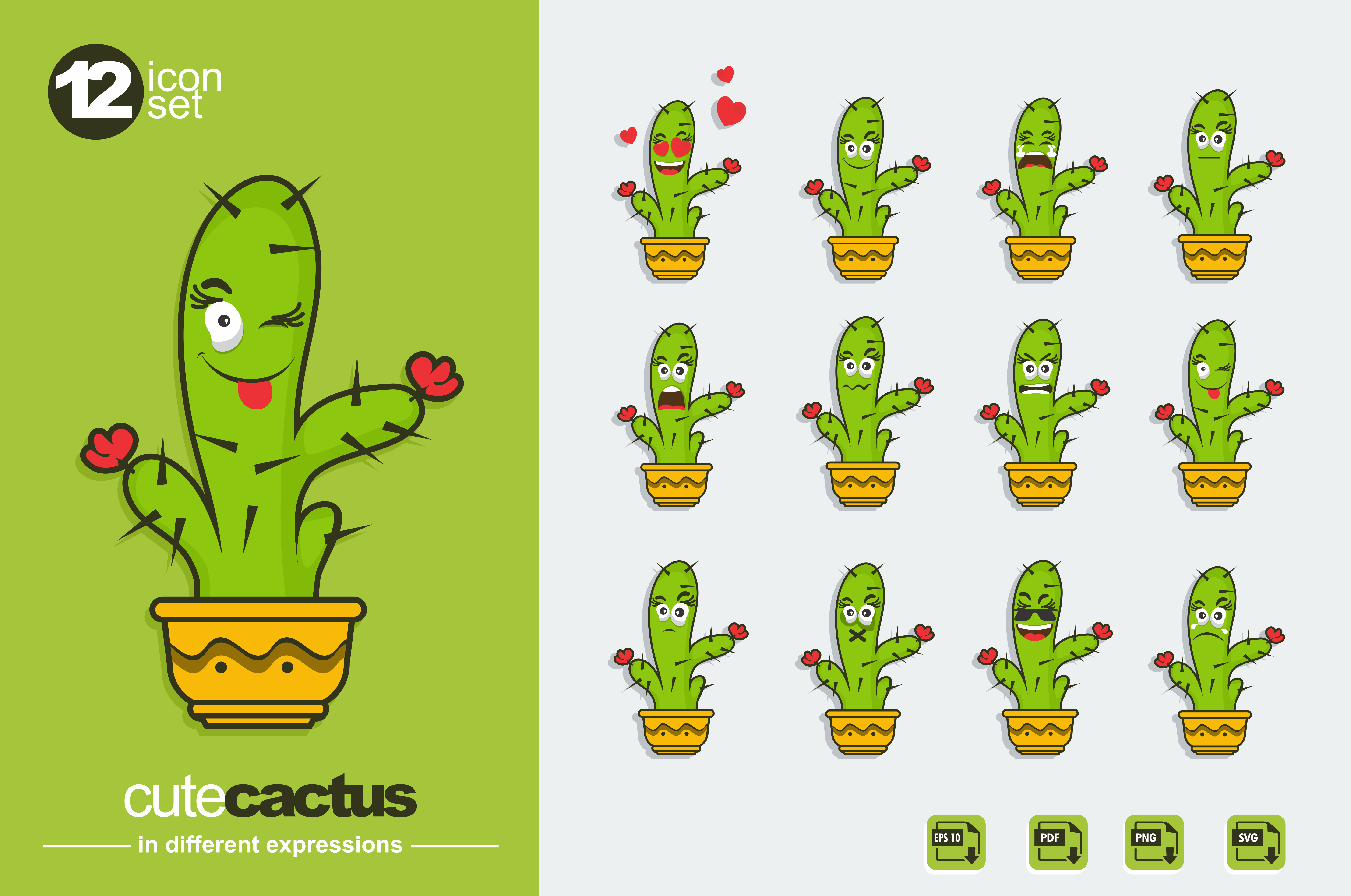 Download Free Set Of Cute Cactus Emoji Graphic By Ahsancomp Studio Creative for Cricut Explore, Silhouette and other cutting machines.