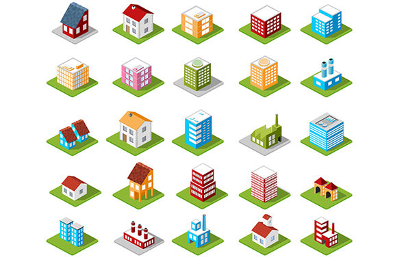 Print on Demand: Set of Isometric Urban Icons Graphic Icons By AlexZel