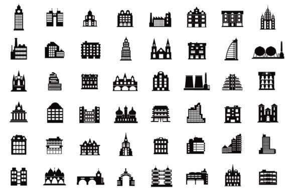 Set of Vector Buildings Graphic Item