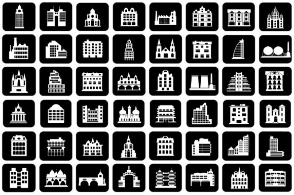 Set of Vector Buildings Graphic Preview
