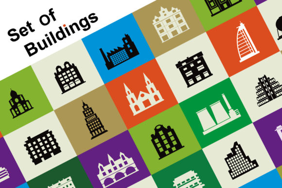 Set of Vector Buildings Graphic