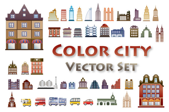 Print on Demand: Set of Vector Flat Houses. Graphic Illustrations By AlexZel