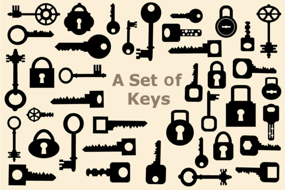 Print on Demand: Set of Vector Keys Graphic Icons By AlexZel