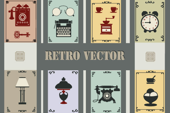 Set of Vector Retro Phones Graphic Download