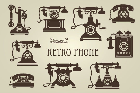 Set of Vector Retro Phones Graphic