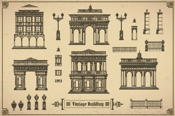 Download Free Set Of Vintage Buildings Graphic By Alexzel Creative Fabrica for Cricut Explore, Silhouette and other cutting machines.