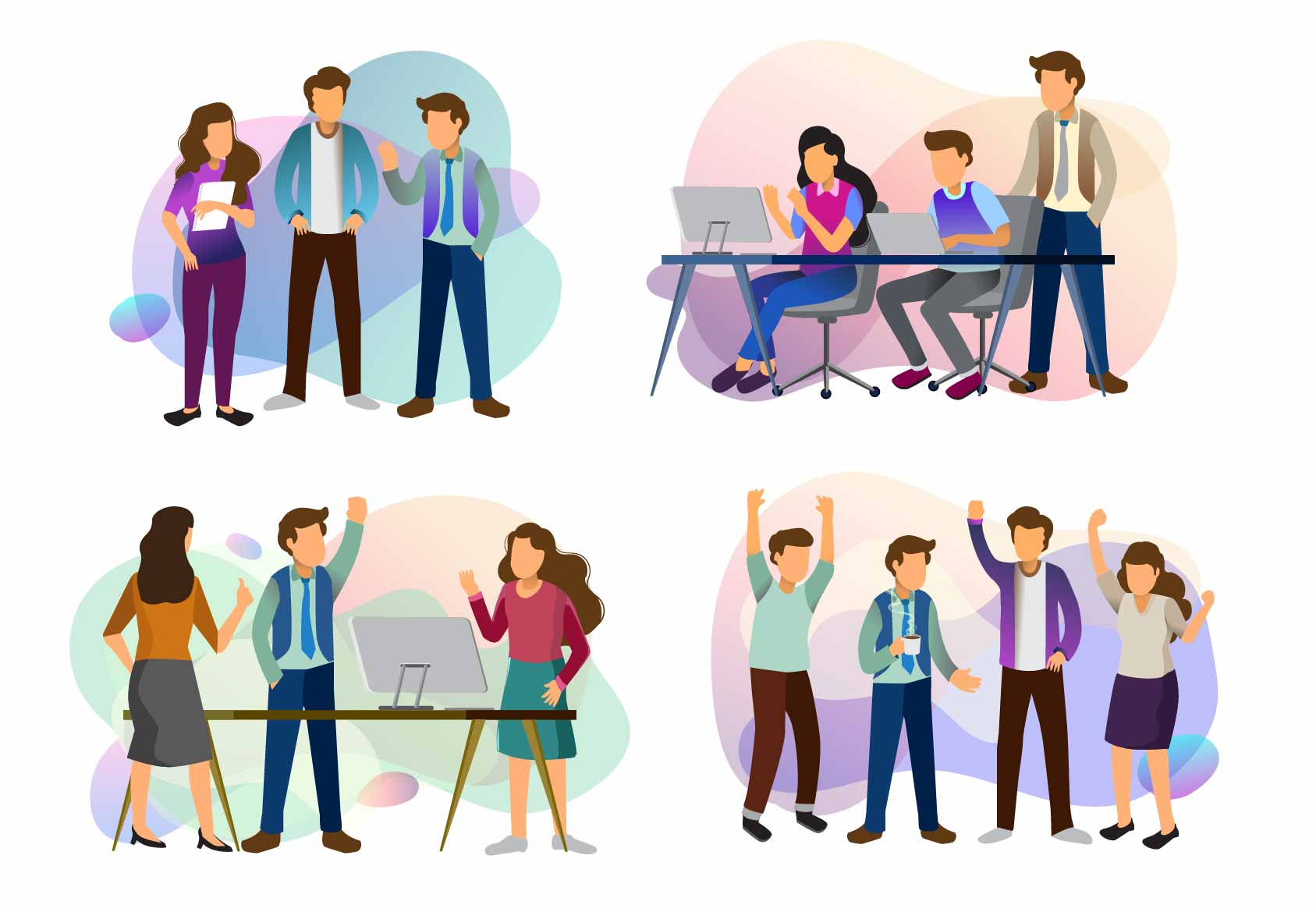 Download Free Sets Of Scenes Teamwork At Office Graphic By Otpirusthree for Cricut Explore, Silhouette and other cutting machines.