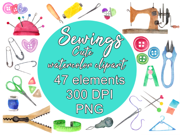 Sewing Watercolor Clipart Illustration Graphic Illustrations By greentosca.std