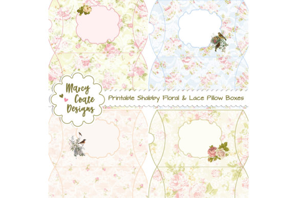 Shabby Floral & Lace Box Set Graphic 3D Pillow Box By MarcyCoateDesigns