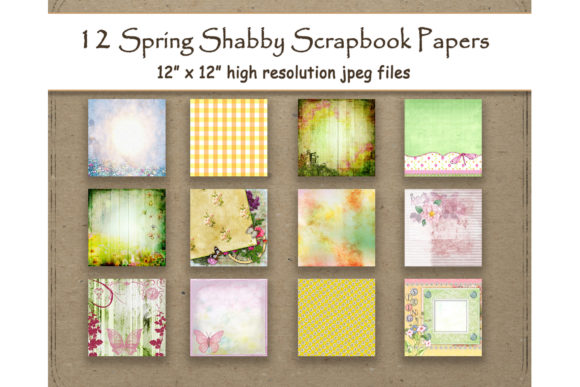 Shabby Spring Scrapbook Digital Papers Graphic Patterns By DigitalPrintableMe