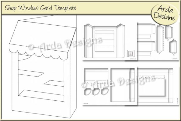 Print on Demand: Shop Window Card CU Template Graphic Print Templates By Arda Designs