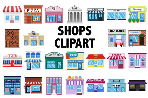 Print on Demand: Shops Clipart Graphic Icons By Mine Eyes Design