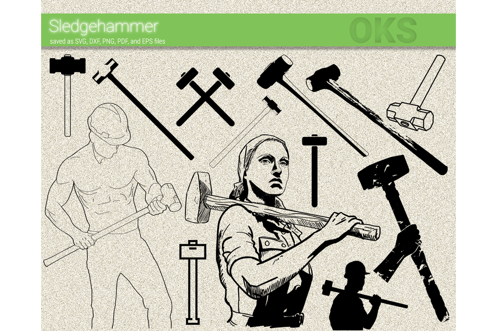 Download Free Sledgehammer Vector Graphic By Crafteroks Creative Fabrica for Cricut Explore, Silhouette and other cutting machines.