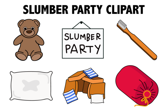 Print on Demand: Slumber Party Clipart Graphic Illustrations By Mine Eyes Design
