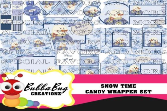 Snow Time Candy Wrapper Set Graphic Crafts By BUBBABUG