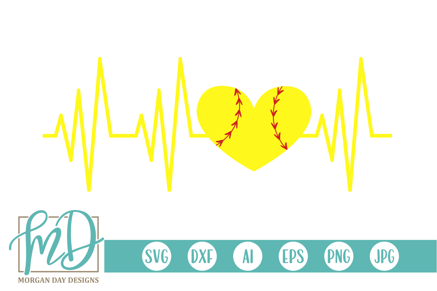 Download Free Softball Heartbeat Graphic By Morgan Day Designs Creative Fabrica for Cricut Explore, Silhouette and other cutting machines.