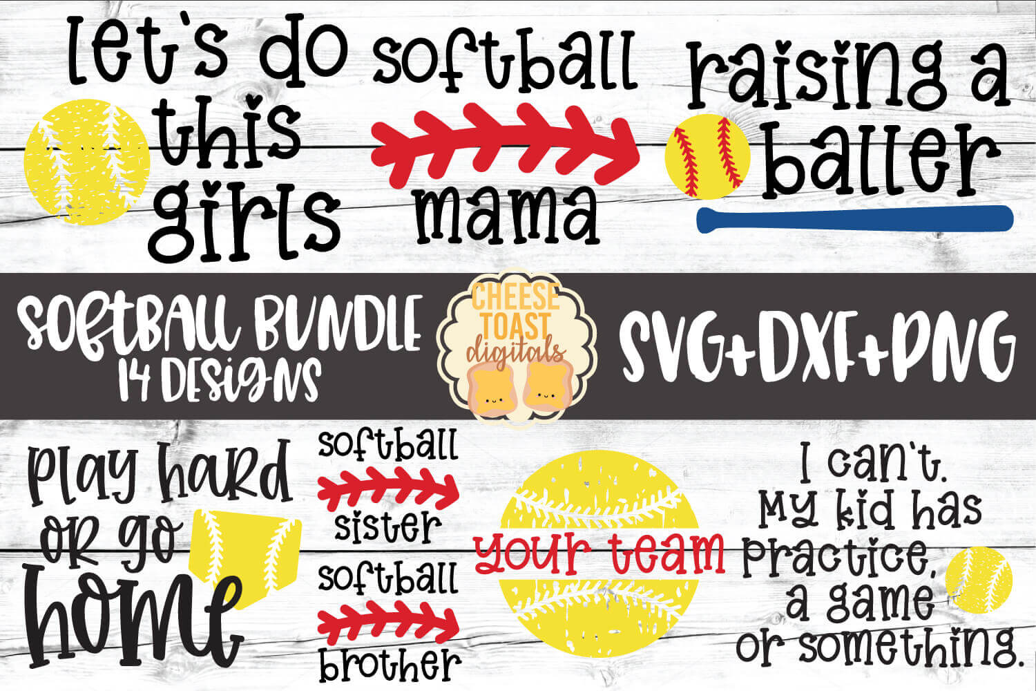 Download Free Softball Bundle 14 Designs Graphic By Cheesetoastdigitals for Cricut Explore, Silhouette and other cutting machines.
