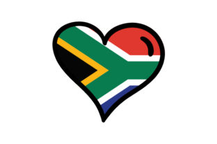 South Africa Heart Shape with Flag South Africa Craft Cut File By Creative Fabrica Crafts
