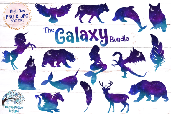 Space Galaxy Animal Clip Art PNG JPG Graphic Crafts By WispyWillowDesigns - Image 1