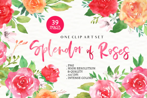 Splendor Of Roses Floral Clip Art Set Graphic By Eden Creative Fabrica