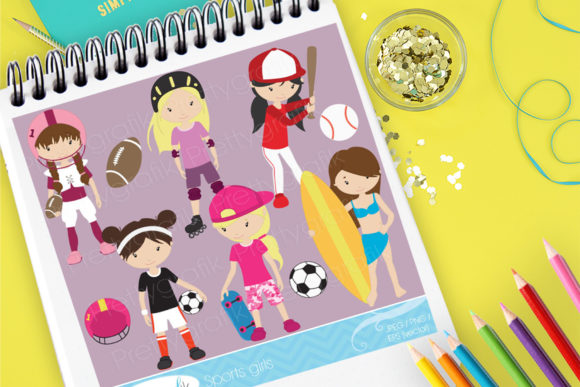 Print on Demand: Sport Girls Cute Set Graphic Illustrations By Prettygrafik