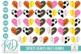 Download Free Sports Half Hearts Svg Bundle Graphic By Morgan Day Designs for Cricut Explore, Silhouette and other cutting machines.