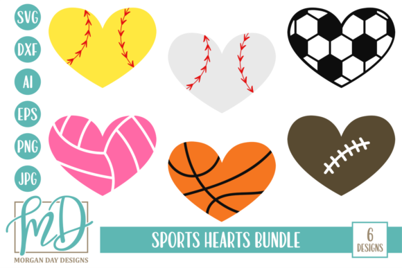 Print on Demand: Sports Hearts SVG Bundle Graphic Crafts By Morgan Day Designs