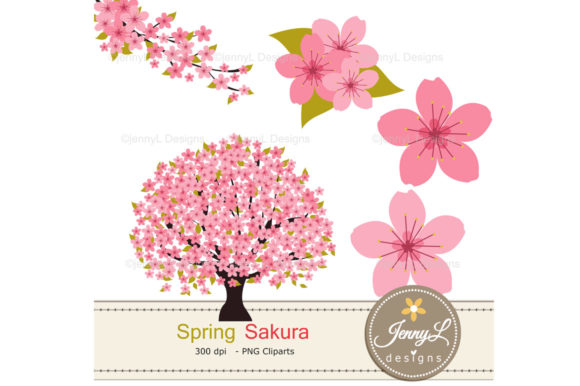 Spring Cherry Blossoms Digital Papers Graphic Patterns By jennyL_designs - Image 2