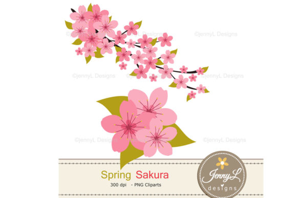 Spring Cherry Blossoms Digital Papers Graphic Patterns By jennyL_designs - Image 3