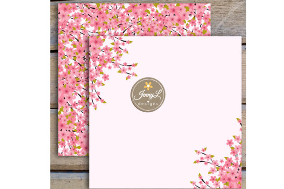 Spring Cherry Blossoms Digital Papers Graphic Patterns By jennyL_designs - Image 6