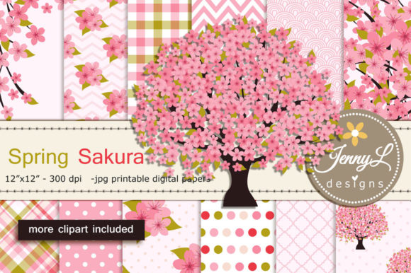 Spring Cherry Blossoms Digital Papers Graphic Patterns By jennyL_designs