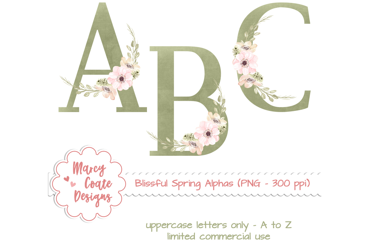 Download Free Spring Floral Alphabet Set Graphic By Marcycoatedesigns for Cricut Explore, Silhouette and other cutting machines.