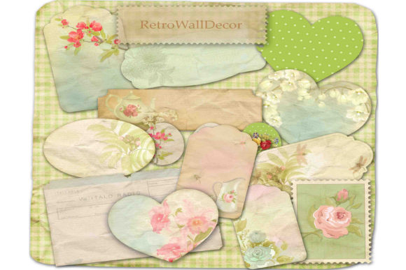 Print on Demand: Spring Labels Romantic Label Graphic Illustrations By retrowalldecor