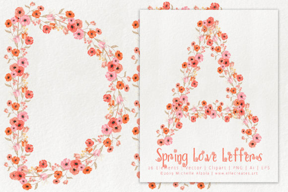 Print on Demand: Spring Love 01 Peach and Mint Letters Graphic Illustrations By Michelle Alzola