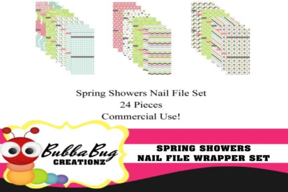 Spring Showers Nail File Wrappers Graphic Crafts By BUBBABUG