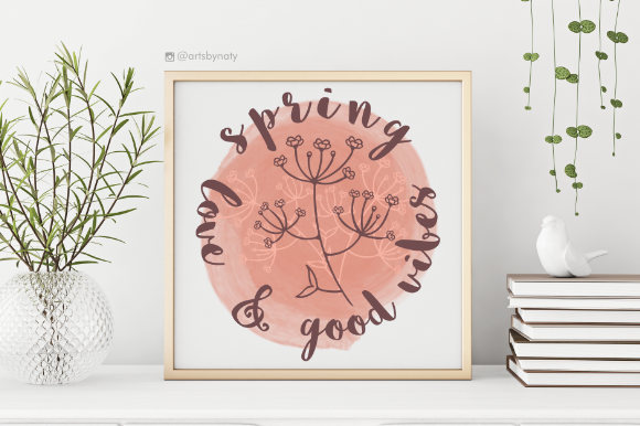 Print on Demand: Spring, Love and Good Vibes Print. Graphic Illustrations By artsbynaty - Image 3