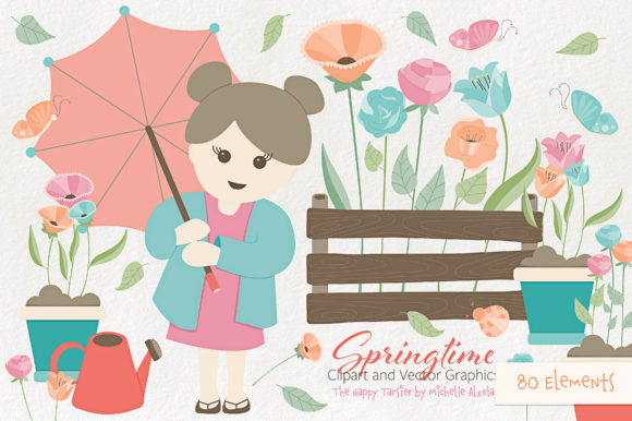 Print on Demand: Springtime 01 Flower Clipart and Vectors Graphic Illustrations By Michelle Alzola