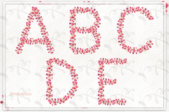 Print on Demand: Springtime 03 Red & Pink Floral Letters Graphic Illustrations By Michelle Alzola - Image 2