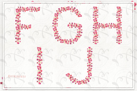 Print on Demand: Springtime 03 Red & Pink Floral Letters Graphic Illustrations By Michelle Alzola - Image 3