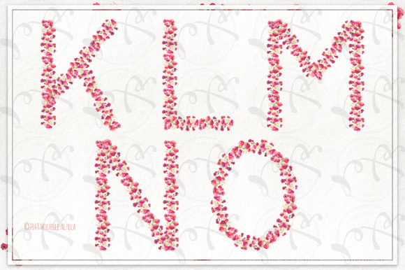 Print on Demand: Springtime 03 Red & Pink Floral Letters Graphic Illustrations By Michelle Alzola - Image 4