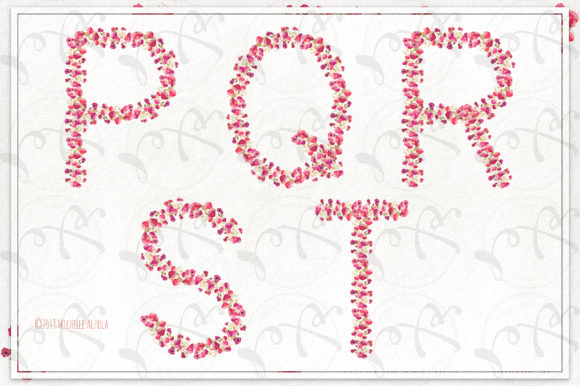 Print on Demand: Springtime 03 Red & Pink Floral Letters Graphic Illustrations By Michelle Alzola - Image 5