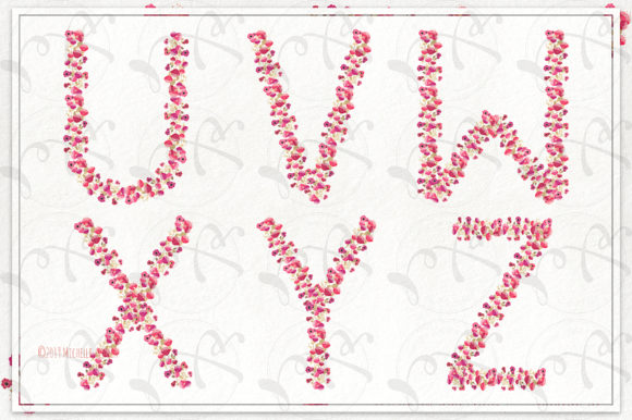 Print on Demand: Springtime 03 Red & Pink Floral Letters Graphic Illustrations By Michelle Alzola - Image 6